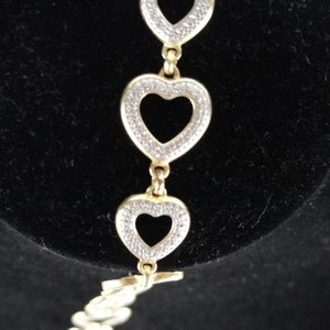 Jewelry - Sterling Silver Heart bracelet  7.5 Inches long